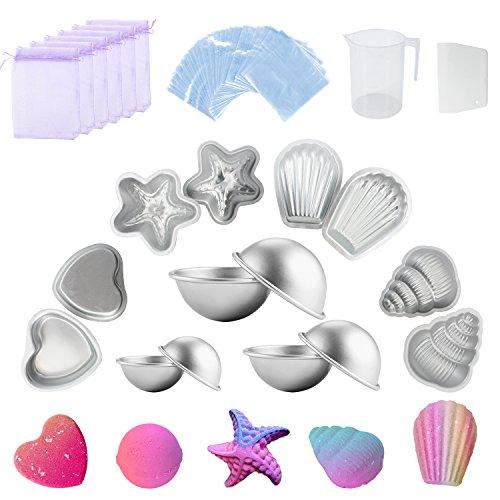 Mavogel Metal Bath Bomb Mold (6 Hemispheres, 2 Starfish, 2 Heart, 2 Shell, 2 Conch) Included 200 Shrink Wrap Bags 1 Measuring Cups 1 Scraper 6 Gift Bag For Bath Bombs Handmade Soaps & Cake