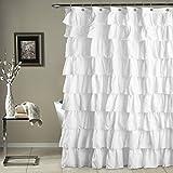 Triangle Home Fashions 19211 Lush Decor Ruffle Shower Curtain, White