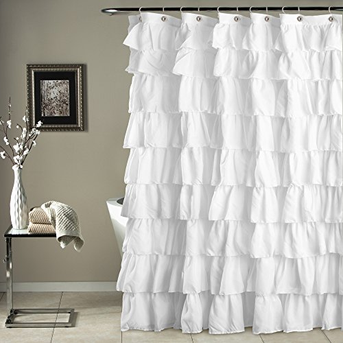 Lush Decor Ruffle Shower Curtain, 72 inch x 72 inch, White (Shower Flower Ruffle Curtain)