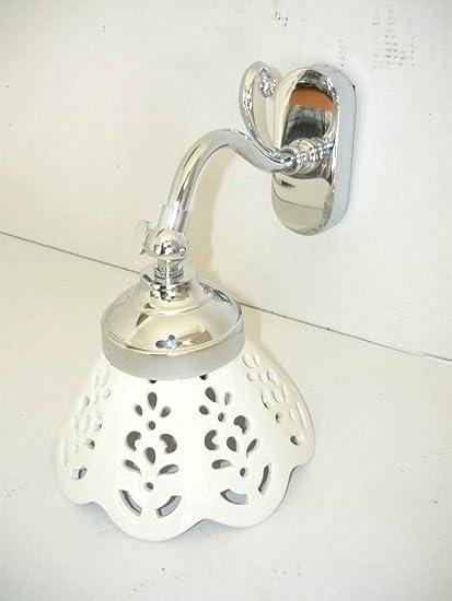 Applique in ottone cromato da parete Bagno Ingresso Salotto Casa con ceramica Traforata