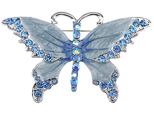 - Alilang Silvery Tone Shine Sapphire Blue Crystal Rhinestones Enamel Butterfly Bug Brooch Pin