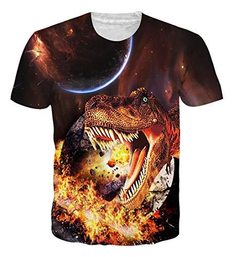 NEWISTAR UNIFACO Mens Unisex 3D Galaxy Dinosaur Short Sleeve T-Shirt Tees - Tee Graphic Dinosaur