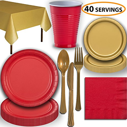Disposable Party Supplies, Serves 40 - Red and Gold - Large and Small Paper Plates, 12 oz Plastic Cups, Heavyweight Cutlery, Napkins, and Tablecloths. Full Two-Tone Tableware Set