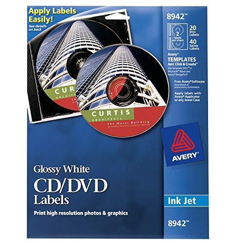 Avery CD Labels, Inkjet Glossy, 20 Pack, White (AVE8942) ()