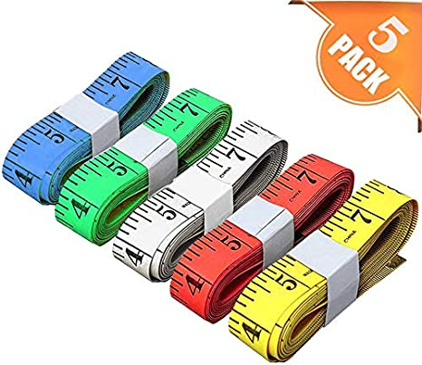 Tape Measure Retractable Measuring Tape for Body for Weight Loss Medical Sewing Tailor Fabric Height Measurements Craft Vinyl Ruler Double Scale 150 Centimetre 59 Inch, 4 Colors