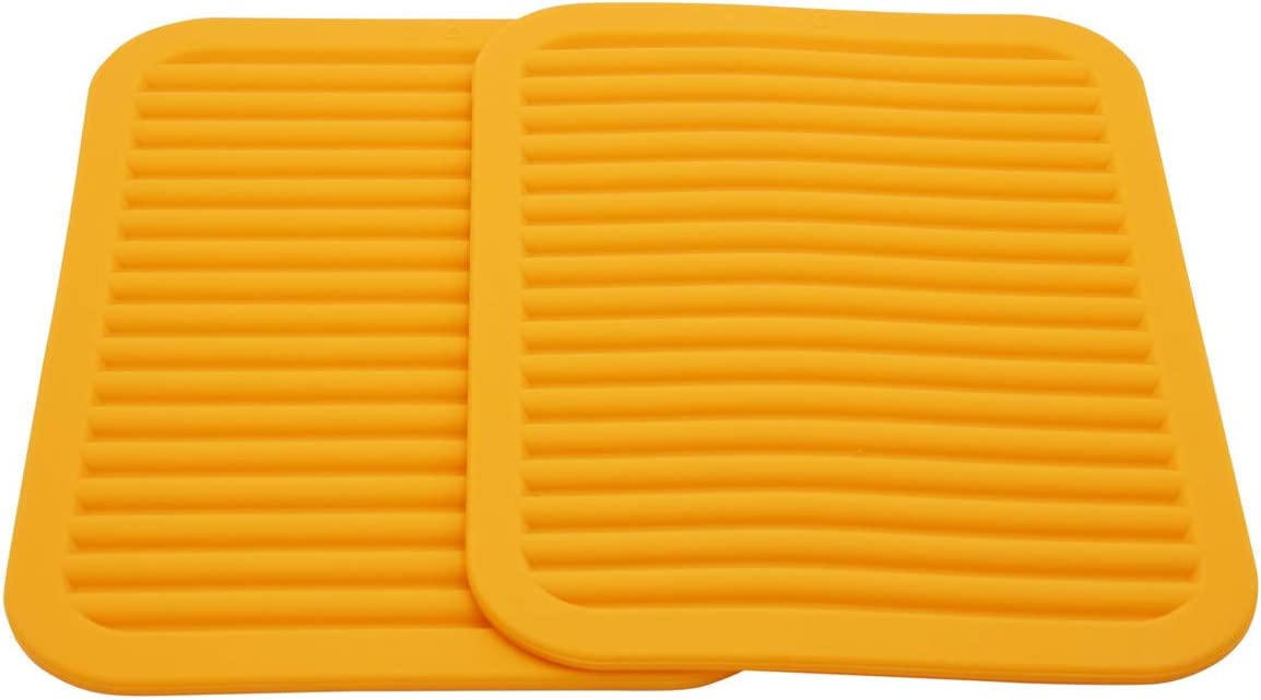 Smithcraft Silicone Trivets Mats for Hot Dishes and Hot Pots, Hot Pads for Countertops, Tables, Pot Holders, Spoon Rest Small Drying Mats Set of 2 Color Orange