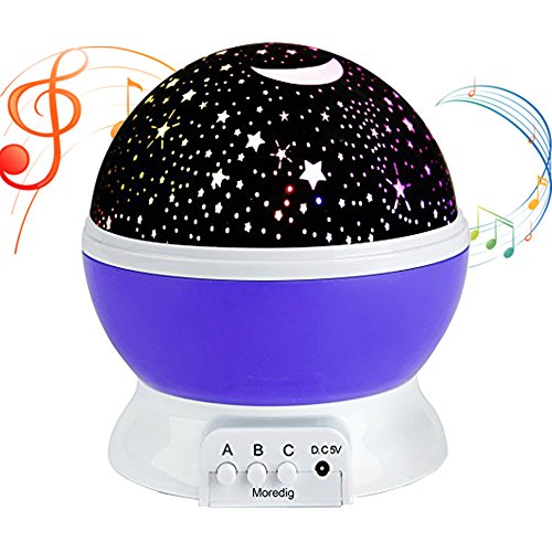 Music Night Light Projector lamp Baby Star Projector,MATIXING 4 LED Bulbs 8 Colors 12 Soft Music,USB Cable / Batteries Powered for Nursery Bedroom Holiday Party, Wedding and Celebrations (Purple) (Infant Musical Lamp)