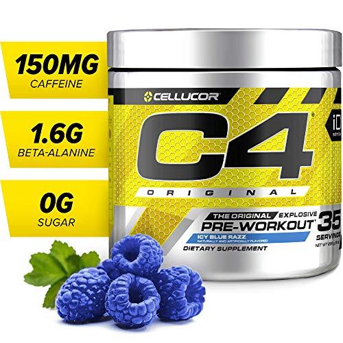 C4 Original Pre Workout Powder Icy Blue Razz | Sugar Free Preworkout Energy Supplement for Men & Women | 150mg Caffeine + Beta Alanine + Creatine | 35 Servings