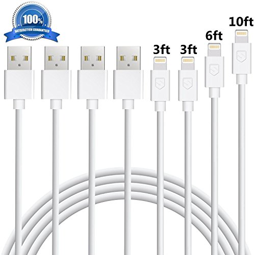 iPhone Charger Eashion Lightning Cable 4Pack 3FT+3FT+6FT+10FT Fast Charger Cord Compatible with iPhone 8 8PLUS X 7 7Plus SE 5 6 6sPlus iPad Mini Air Pro iPod-White
