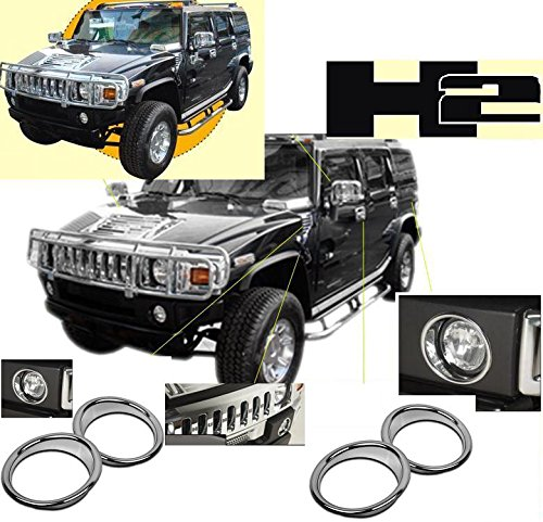 Hummer H2 H-2 H 2 Chrome Bumper Fog Lights Light Cover Bezel Trim Covers Set Exterior ABS MOLDING Trim Set 2006 2007 2008 2009 ()