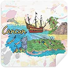 Cancun Mexico Island Mayan Temple Glasses Cleaning Cloth Phone Screen Cleaner Suede Fabric 2pcs