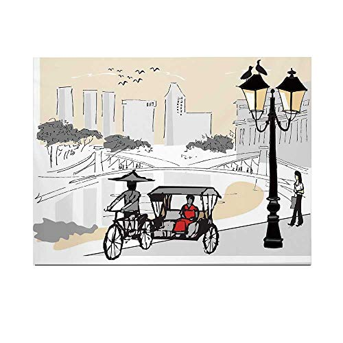 Modern Photography Background,Sketch Singapore City Silhouette with Local People Asian Town Illustration Backdrop for Studio,7x5ft