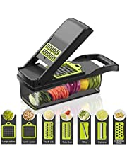 Multifunktionell smart grönsaks-skivare, 7 i 1 mandolin justerbar grönsaksskärare lökhackare med stor behållare skära grönsaker ost frukt snabbt och jämnt, grönsaksskärare