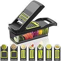 Multifunktionell smart grönsaks-skivare, 7 i 1 mandolin justerbar grönsaksskärare lökhackare med stor behållare skära…