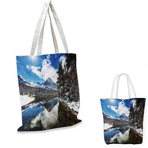 Winter canvas shoulder bag Tranquil View of Glacier National Park in Montana Water Reflection Peaceful canvas lunch bag Brown Blue White. 15