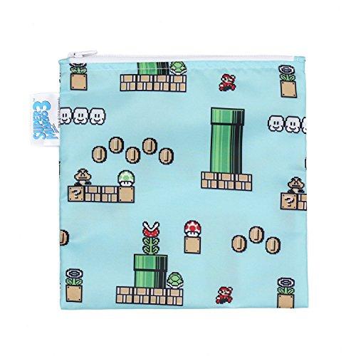 Bumkins Nintendo Super Mario Sandwich Bag / Snack Bag, Reusable, Washable, Food Safe, BPA Free, 7x7 - 8-Bit Game