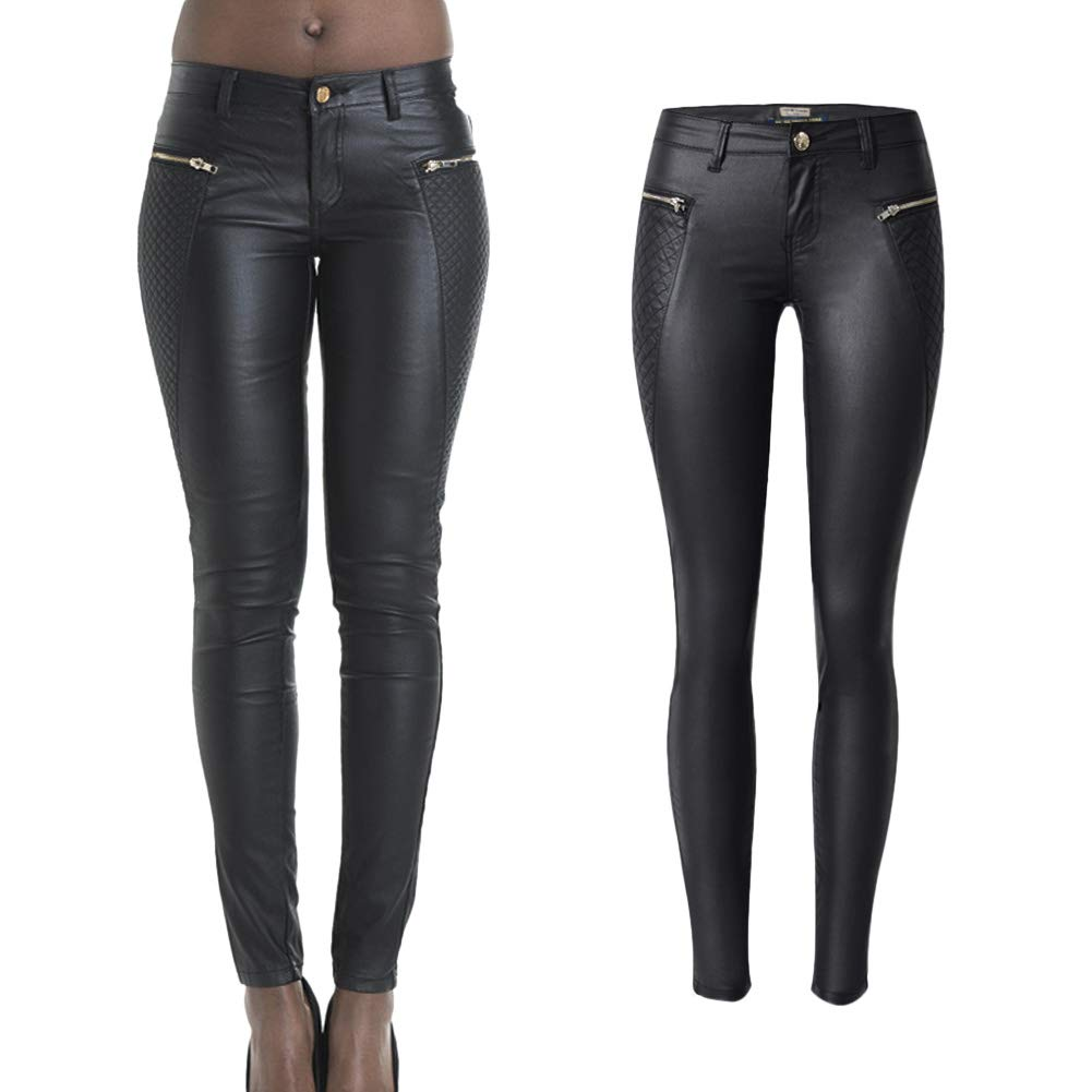 lexiart Faux Leather Pants Stretch Coated Skinny Pencil Jeans Butt Lift 2018 Spring Summer Fall S 6 Black ¡