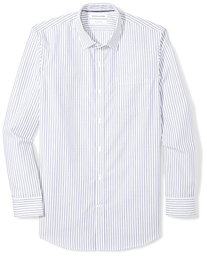 Amazon Essentials Men's Slim-Fit Wrinkle-Resistant Long Stripe Dress Shirt, White/Blue Stripe, 14.5