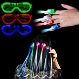 Lugumy 23 Pieces LED Light Up Toy Party Favors-10 Optical Fiber Hair Lights 10 Finger Lights 3 Flashing Slotted Shades Glasses for Party Bar Dancing Concert Night Activities
