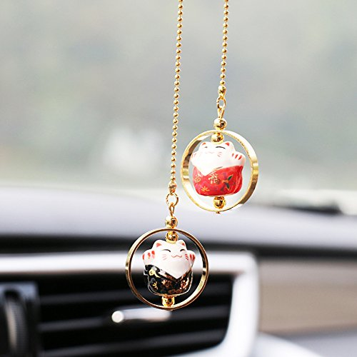 Pendant Cat Lucky - YGMONER Lucky Cat Car Charm Porcelain Figurine Hanging Pendant (Black & Red)