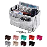 Purse Organizer, Multi-Pocket Felt Handbag Organizer, Purse Insert Organizer with Handles, Medium, Large (Medium, Grey)