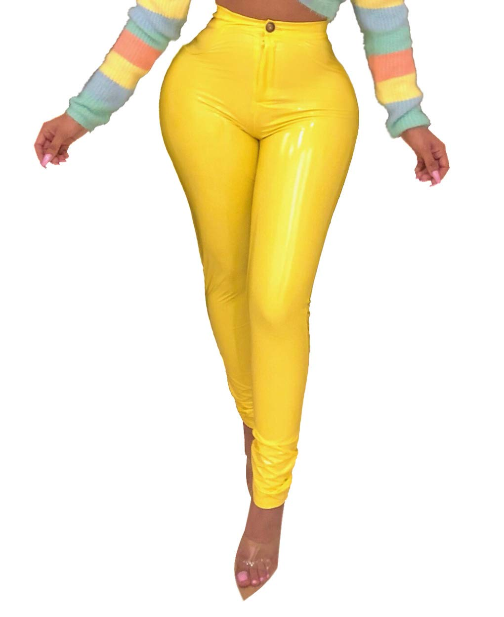 2d8b0be06ddbf1 Women's Winter Faux Leather Leggings - Fleece Lining High Waisted Pleather  Pants Yellow X-Large