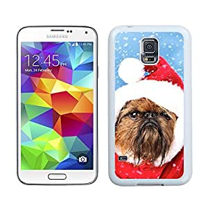 Personalization Christmas Brown Fur Lovely Dog Samsung Galaxy S5 White Silicone Case,Samsung I9600 Phone Case