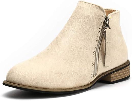 Boots Femme Daim Bottine Femmes Plates Basse Cuir Bottes