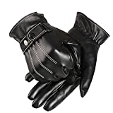 Gloves,Baomabao Mens PU Leather Winter Driving Warm Gloves Cashmere (Black)