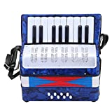 Accordion, Mini Small 17-Key 8 Bass Accordion Educational Musical Instrument Toy for Beginner Early Childhood Teaching(Blue)