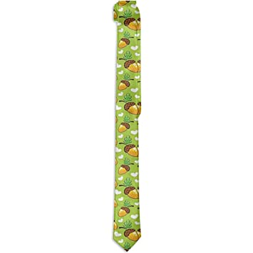 Corbata floral estampada para hombres, corazones, hojas y nueces ...