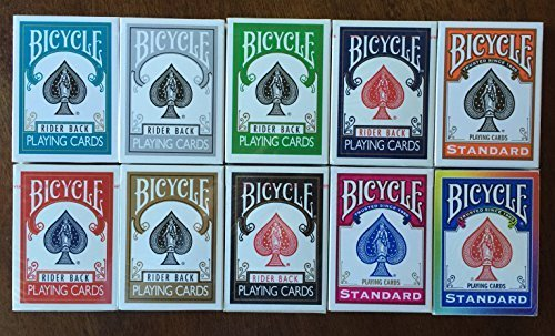 - Cards Bicycle Color Bundle - Turquoise, Silver, Green, Blue, Orange, Red, Gold, Black, Fuchsia, and Rainbow Backs