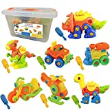 Kidtastic Set of 7 Take Apart Toys - Dinosaurs, Helicopter, Train, Truck, Motorcycle - STEM Building Set - Hours of Fun - 192 Pieces - Engineering Kit for Boys, Girls, Toddlers - Age 3, 4, 5 +Year Old