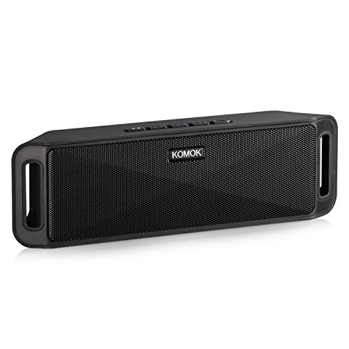 Portable Wireless Bluetooth Speaker,KOMOK Mini Outdoor Stereo Speaker with Built-in Mic | Powerful Dual Loudspeakers,Hands-Free Calls | FM Radio,AUX,TF Card,USB Rechargeable for iPhone Samsung(Black)