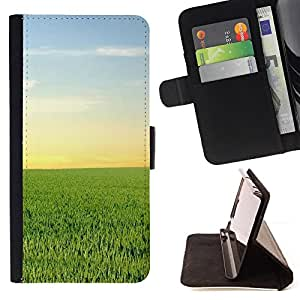 DEVIL CASE - FOR LG G2 D800 - Nature Green Field - Style PU Leather Case Wallet Flip Stand Flap Closure Cover