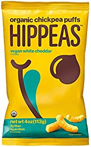 HIPPEAS Organic Chickpea Puffs + Vegan White Cheddar | 4 Ounce (Pack of 12)| Vegan, Gluten-Free, Crunchy, Protein Snacks