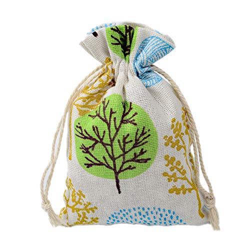 BZCTAH 20 Pieces Printing Burlap Bags with Drawstring 3.9