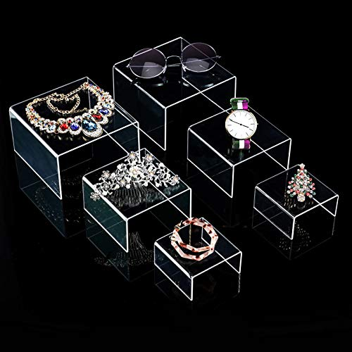 Chuangdi 2 Sets Clear Acrylic Display Risers, Jewelry Display Riser Shelf Showcase Fixtures (3 Sizes B) ()
