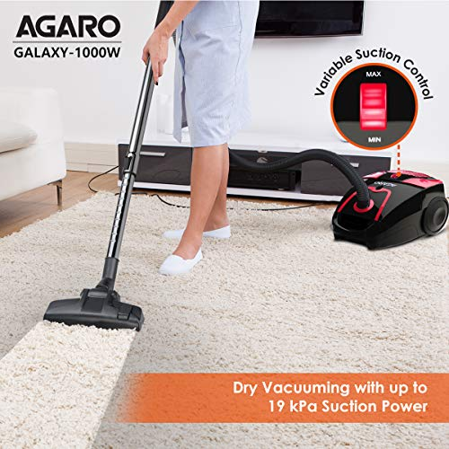 AGARO Galaxy 1000-Watts Dry Vacuum Cleaner with 19 kPa Suction Power, 3.5 litres dust Bag, Variable Power Settings (Black)