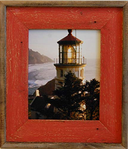 MyBarnwoodFrames - Color Washed Reclaimed Barn Wood 5x7 Picture Frame, Red Wash with Natural Wood Border