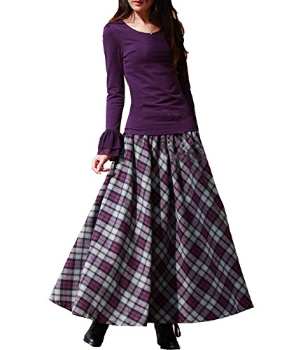 Femirah Women's Red Elastic Waist A Line Long Maxi Woolen Plaid Skirt (Length 90cm/Waist 73cm to 90cm, (Elastic Waist Wool Skirt)