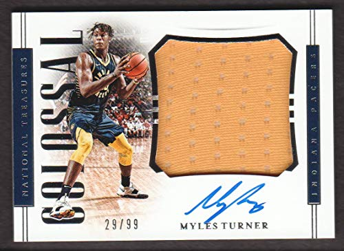 2018-19 Panini National Treasures Basketball Colossal JERSEY AUTO #CM-MTN Myles Turner /99