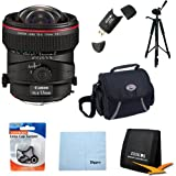 Canon TS-E 17mm f/4L UD Aspherical Ultra Wide Tilt-Shift Lens for Canon Digital SLR Cameras w/ Deluxe Bag, Lens Cap Keeper, Microfiber Cleaning Cloth, Memory Card Wallet, USB 2.0 Card Reader, Professional Tripod
