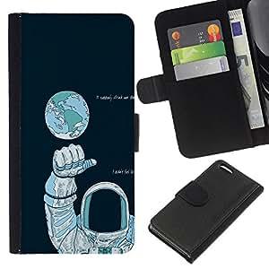 NEECELL GIFT forCITY // Billetera de cuero Caso Cubierta de protección Carcasa / Leather Wallet Case for Apple Iphone 5C // Astronauta Espacio