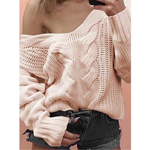 GUNCOI New Women Vintage Low Neck Stylish Sweater Woman Long Sleeve Fahsion Loose Open Neck Sweaters Plus Size SWD0559-45 Pink (Open Neck Sweater)