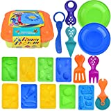 diy play dough - Kids Clay Dough Tools Playsets, Toddler Tool Set & Play Kitchen Food Cooking Baking Kit for Kids- 30 pcs Tool Box Set with Dough Molds Cutters, Shapes Maker, Play Rolling Pin (Clay Included)