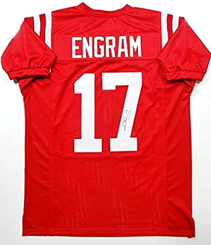 newest a0de8 da1dd Autographed Evan Engram Jersey - Red College Style Witness ...