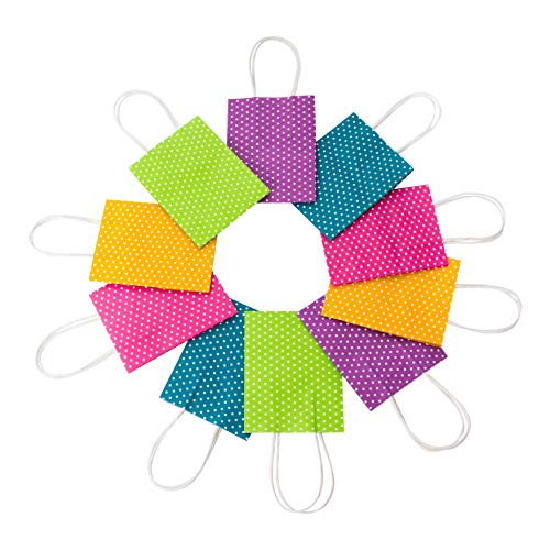 Wrap N Roll Extra Small Gift Bags Kraft Paper Polka Dots in Assorted Colors with Handles Purple, Blue, Pink, Green and Orange for Christmas Holiday, Birthday, Wedding, Anniversary (Set of 18) -