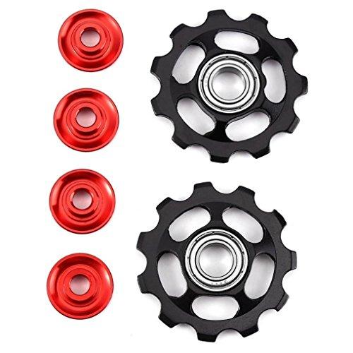 MNtech 2pcs 11T Aluminum Sealed Bearing Jockey Wheel Rear Derailleur Pulleys (Black) (Jockey Battery Pack)