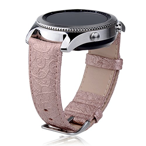 Embossed Bar - Samsung Gear S3 band, S3 Classic / Frontier watch Band, Thankscase Genuine Leather Wrist Strap Replacement with Top Quality Spring Bar and Embossed Pattern for 2016 Samsung Gear S3 (Rose Gold)